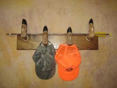 Deer hoof hat rack mount; Aberdeen, South Dakota